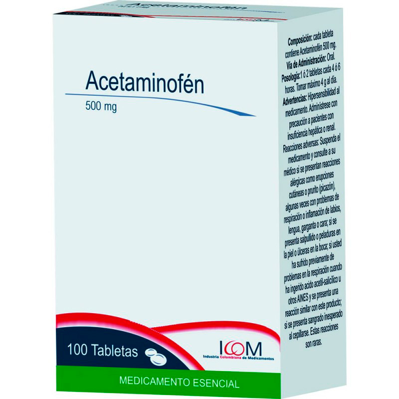 ACETAMINOFEN 500MG X 100TAB.ICOM