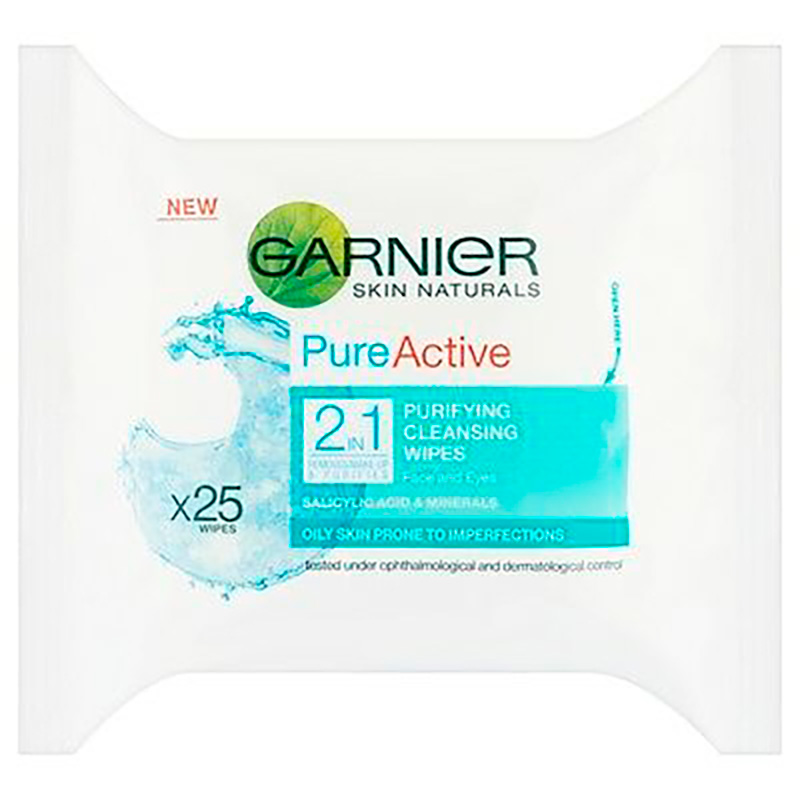 GARNIER SKIN ACTIVE PURE ACTIVE 2EN1 X 25WIPES