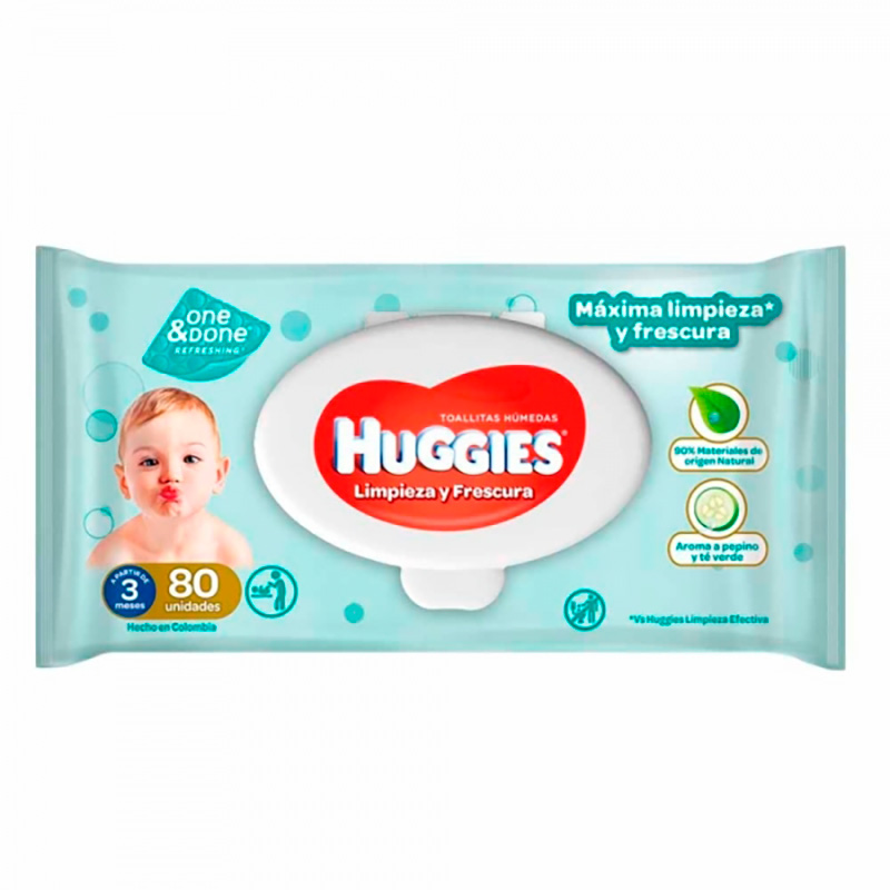 HUGGIES TOALLAS HUM.ONE DONE X 80UD.KC