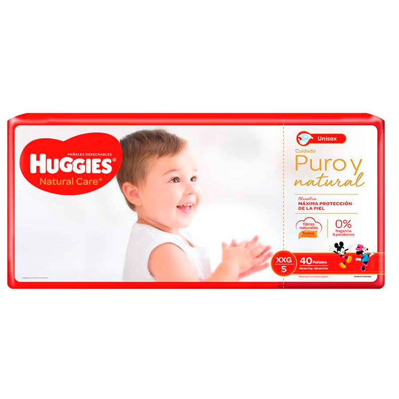 HUGGIES PAN.E.XXG5 NATURAL CARE UNISEX X 40UD CK