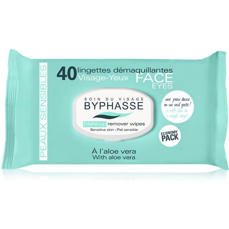 BYPHASSE MAKE UP REMOVER WIPES ALOE VERA X 40
