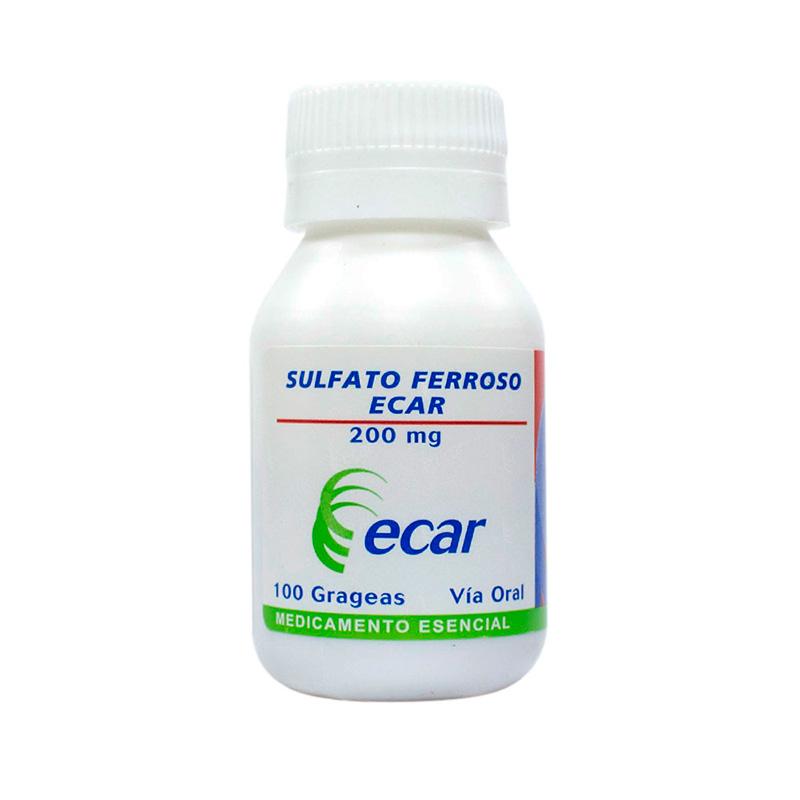 SULFATO FERROSO 200MG X 100GRAGEAS.EC
