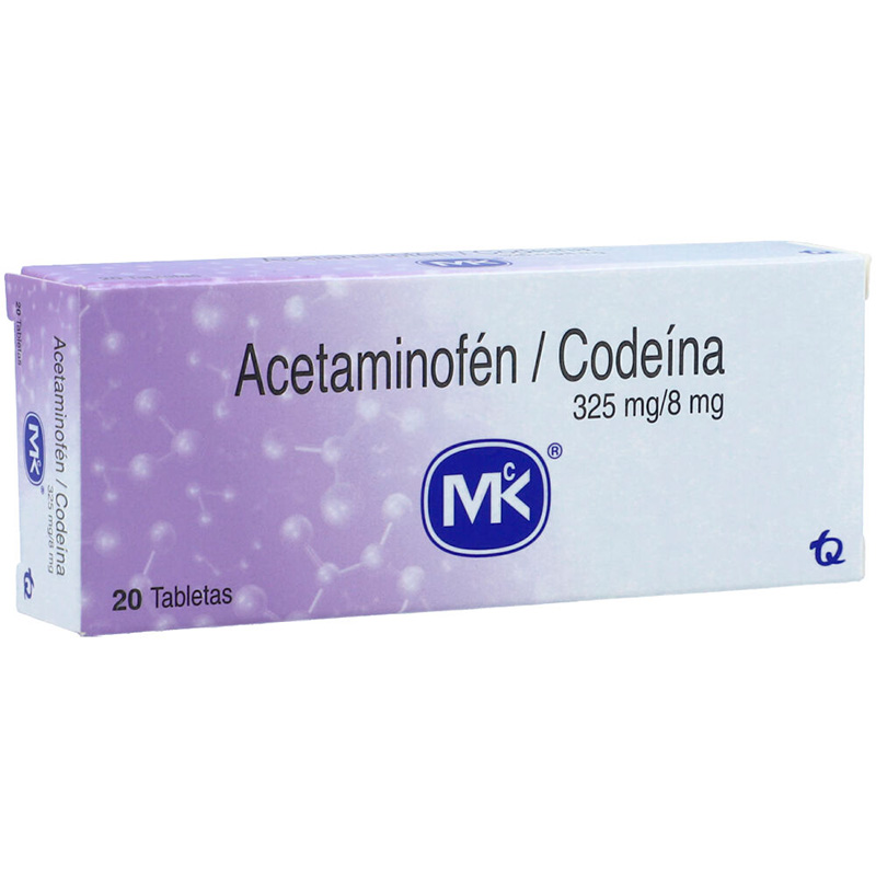 ACETAMINOFEN+CODEINA 325MG/8MG X 20TAB MK