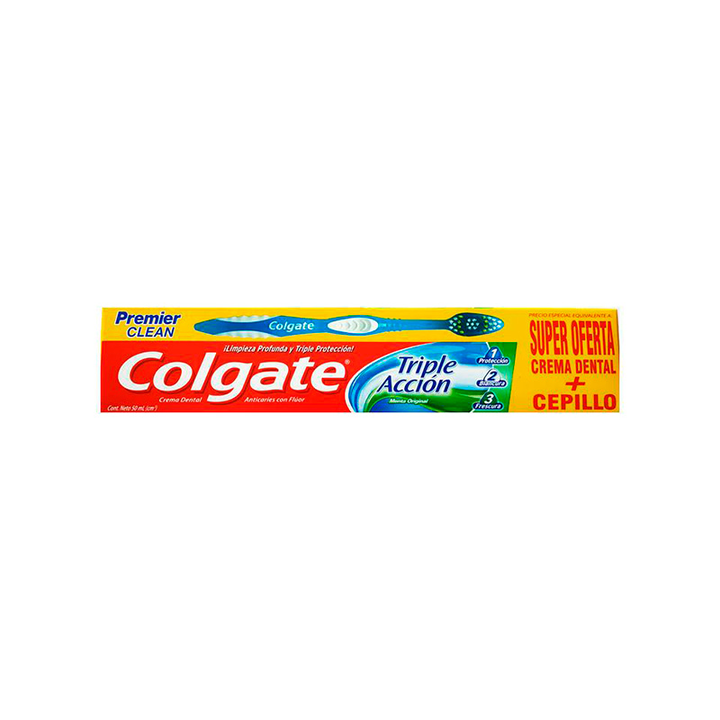 COLGATE CREMA 3ACCION MENTA X 50ML+CEPILLO.CP